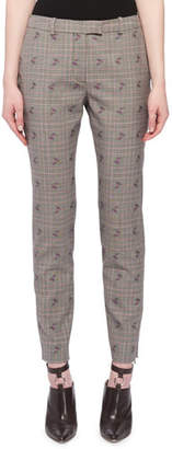 Altuzarra Henri Floral-Embroidered Flared-Leg Prince of Wales Check Trousers