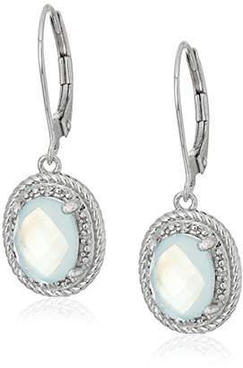 Mother of Pearl Sterling Oval Rope White Mother-of-Pearl Over Baby Blue-Topaz Doublet and Diamond Accent Drop Earrings