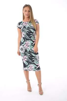 MIXLOT Womens Sexy Short Sleeves BodyCon Slim Fit Printed Midi Dress summer Top