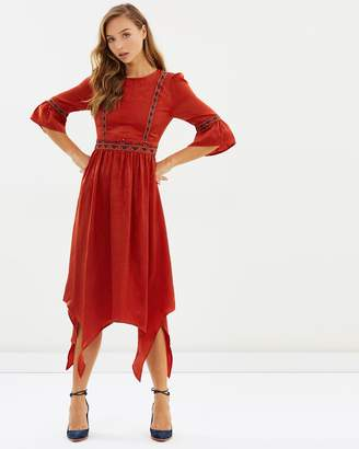 Moon River Embroidery Bell Sleeve Dress