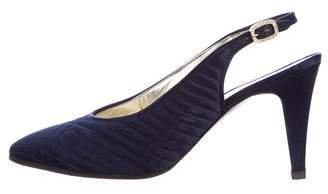 Chanel Quilted Satin Slingback Pumps