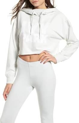 Ivy Park R) Raw Hem Crop Logo Hoodie