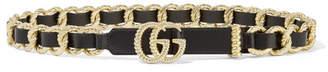 Gucci Embellished Leather Belt - Black