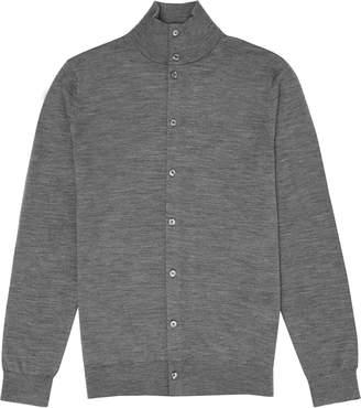 Reiss Lupton - Merino Wool Button Through Top in Grey Melange