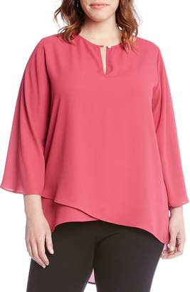 Karen Kane Split Neck Crossover Top