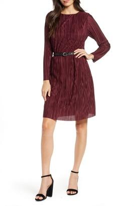 Sam Edelman Long Sleeve Belted Plisse Dress