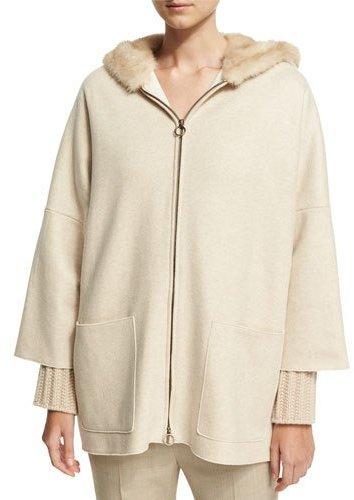 AgnonaAgnona Cashmere Zip-Front Parka with Mink Fur Hood, Black