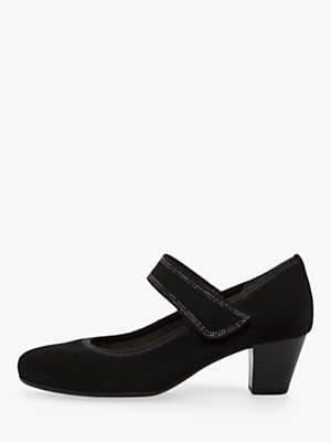 Gabor Torby Block Heel Mary Jane Court Shoes, Black Suede