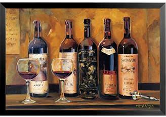 Buy Art For Less 'Cellar Reds Wine Bottles' by Marilyn Hageman Framed Graphic Art