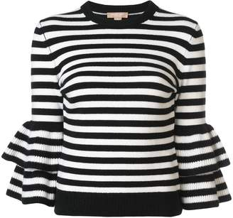 Michael Kors striped peplum sleeve sweater