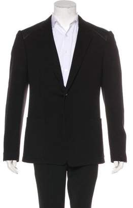 Versace Leather-Trimmed Wool-Blend Blazer