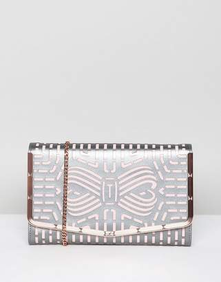 Ted Baker Cut Out Bow Clutch in Leather
