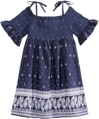 Bonnie Jean Off The Shoulder Border-Print Peasant Dress, Little Girls