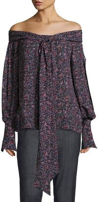 Magda Butrym Mons Long-Sleeve Floral-Print Off-the-Shoulder Blouse, Purple