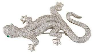 18K Diamond & Emerald Lizard Brooch
