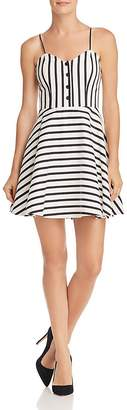 Alice + Olivia Nella Striped Fit-and-Flare Dress