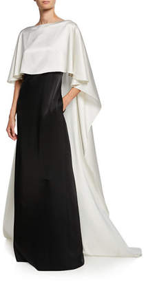 St. John Colorblock Bateau-Neck V-Back Liquid Satin Gown with Cape