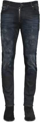 Just Cavalli 17cm Washed Stretch Denim Skinny Jeans
