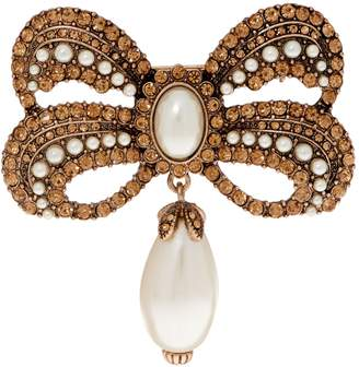 Joan Rivers Classics Collection Joan Rivers Victorian Style Crystal Bow Pin with Faux Pearl Drop