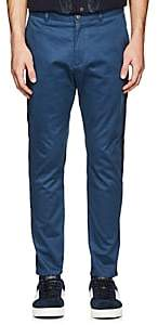 Barneys New York MEN'S GROSGRAIN-ACCENTED STRETCH-COTTON TROUSERS-MD. BLUE SIZE 30