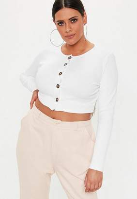 Missguided Plus Size White Ribbed Button Front Long Sleeve Crop Top