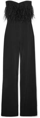 Saloni Aurelie Feather-trimmed Cady Jumpsuit - Black