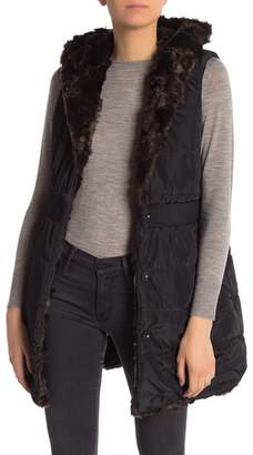 Via Spiga Reversible Faux Fur Hooded Vest