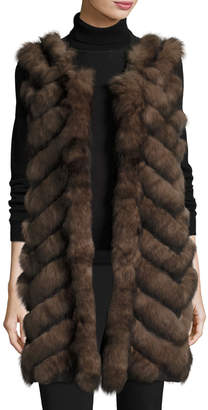 Long Chevron-Paneled Reversible Fur Vest