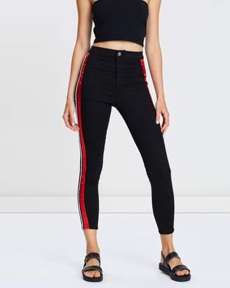Topshop MOTO Piping Striped Joni Jeans