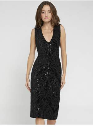 Alice + Olivia Alba Beaded Black Midi Dress