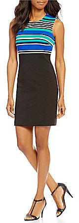 Calvin KleinCalvin Klein Sleeveless Top Stripe Sheath Dress