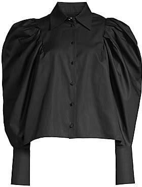 KHAITE Women's Brianne Puff-Sleeve Button-Down Blouse