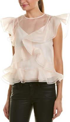Rebecca Taylor Organza Ruffle Silk Top