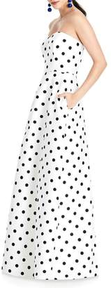 Alfred Sung Strapless Dot Sateen Gown
