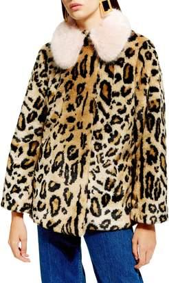 Topshop Leopard Spot Faux Fur Coat