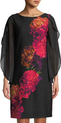 Donna Ricco Floral-Print Chiffon-Sleeve Cocktail Dress