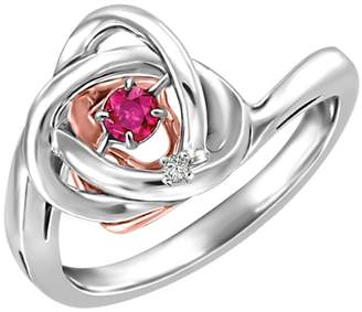 Fine Jewellery Two-Tone Rhythm of Love Ruby 0.006 CT. T.W. Diamond Ring
