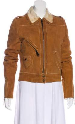 CNC Costume National Leather Long Sleeve Jacket