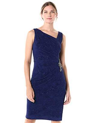 Alex Evenings Women's Short V Neck Crepe Sheath Cocktail Dress