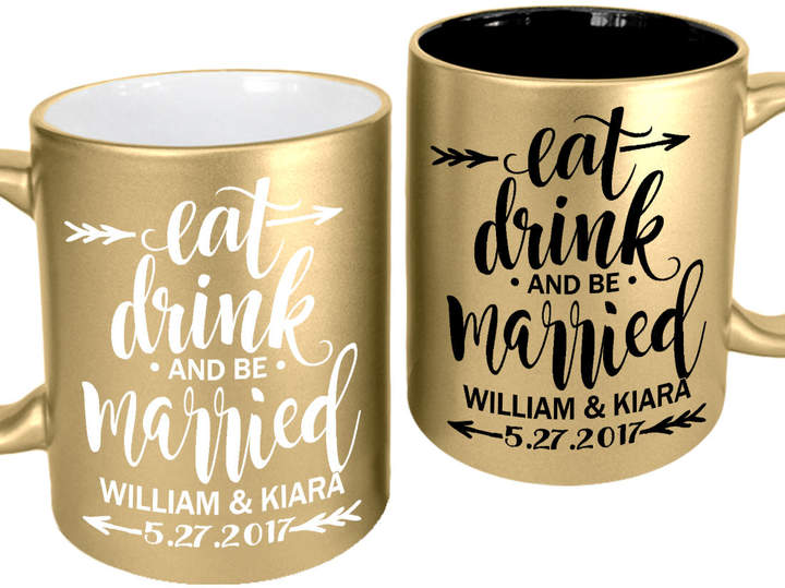 Etsy Eat Drink and Be Married Wedding Favor Personalized Coffee Mugs Bachelor Party Gift for Bride Groom