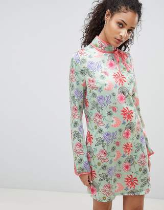 Glamorous Long Sleeve Shift Dress With High Neck In Bright Floral