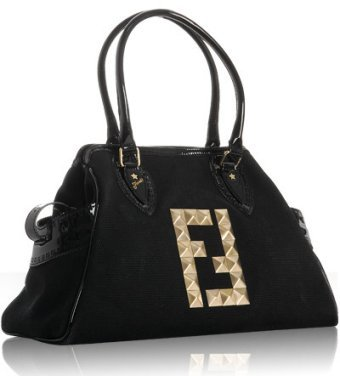 Fendi black canvas studded 'Bag De Jour' tote