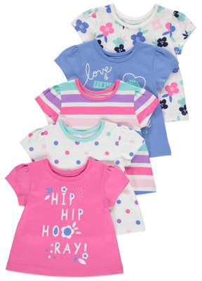 George Pink Patterned Tops 5 Pack