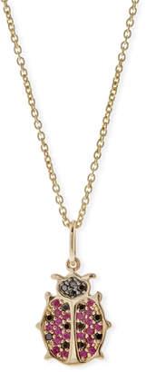 Sydney Evan Anniversary Ladybug Necklace with Rubies & Black Diamonds