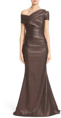 Talbot Runhof Glitter Knit Asymmetrical Mermaid Gown