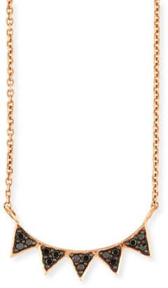 Sydney Evan 14K Rose Gold Black Diamond Triangle Necklace