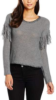 MinkPink Women's Miles Apart Fringe Sweater Plain Long Sleeve Sweatshirt,(Manufacturer Size:Medium)