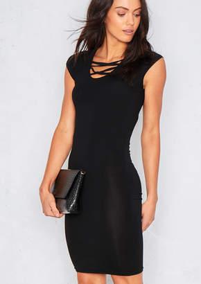 c749b3ac4ba5 Missy Empire Missyempire Mesa Black Short Sleeved Lace Up Front Mini Dress