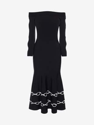 Alexander McQueen Off-The-Shoulder Knit Dress