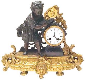 One Kings Lane Vintage Antique French Bronze Mantel Clock - Vermilion Designs